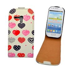 WHITE CASE MULTICOLOR HEART PRINT DESIGN FLIP PU LEATHER SAMSUNG GALAXY S3 MINI