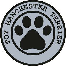 1x Toy Manchester Terrier Paw Print Seal Track Funny Sticker Dog Pet Decal Vinyl