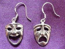 Greek Drama Comedy and Tragedy Earrings set on 925 Sterling Silver Ear Wires.