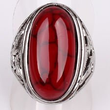 Hot Tibetan Silver US Size 9 Women Men Iron Line Red Turquoise Ring Jewelry D889