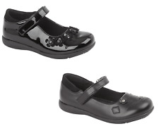 Girls School Shoes Black Mary Jane Touch Fasten Patent Synthetic Leather UK10-2