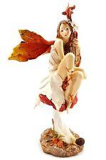 Fairy on Mushroom with Harp Statue Figurine Ornament Sculpture Home Garden 28 cm