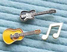Set of 3 pins Acoustic Guitar Electric Guitar Music Note metal enamel pin badges