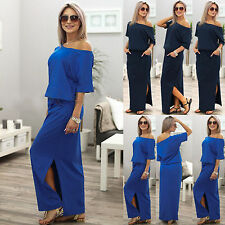 Womens Off Shoulder Half Sleeve Side Split Long Maternity Dresses