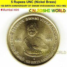 150 BIRTH ANNIVERSARY OF SWAMI VIVEKANANDA Nickel-Brass Rupee 5 UNC (M)# 1 Coin