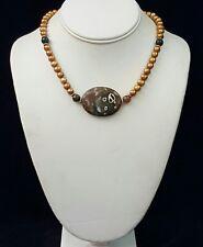 Artisan Necklace Ocean Jasper Focus Copper Pearls 925 Silver Handcrafted USA
