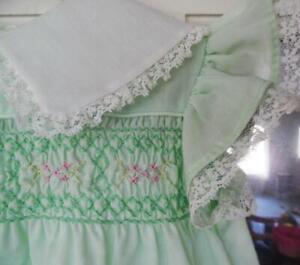 VINTAGE Infant Girls POLLY FLINDERS Smocked Dress 12 Month