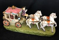 """Capodimonte Style four horses and carriage vintage 4 x 14"""" wide"""