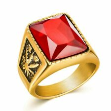 Stone Ring Rock Fashion Male Jewe Men Hiphop Ring 316L Stainless Steel Black/Red