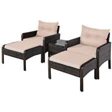 5 PCS Patio Rattan Wicker Furniture Set Tea Table Cushioned Sofa Ottoman Outdoor