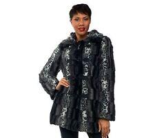 Dennis Basso Reversible Faux Fur Toggle Coat Detach Hood Black XL NEW A228866