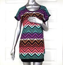 Motherhood Maternity top size Small Multi Color Chevron tunic short sleeve