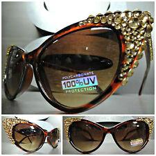 CLASSIC VINTAGE CAT EYE Style BLING Tortoise SUN GLASSES Gold Crystals Handmade