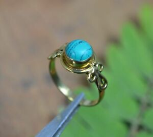 SOLID BRASS TURQUOISE RING 5.5 US W258