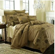 NEW Rose Tree Mont Royal Comforter 4 PC. Set Queen SZ. Brown & Gold