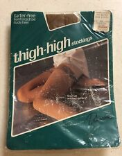 Vintage Primrose sunbeige nylon thigh high stockings size B Garter free