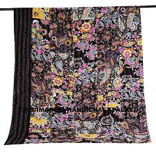 Indian Black Floral Patchwork Handmade Kantha Quilt Bedspread Bedding Blanket
