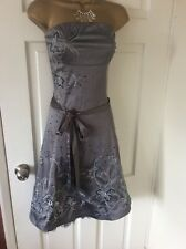 STUNNING JANE NORMAN SILVER GREY PARTY WEDDING CRUISE RACES DRESS SIZE 12
