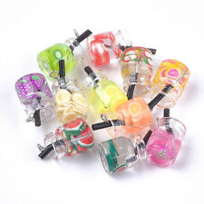 10pc Colorful Glass Resin Polymer Clay Bottle Pendants Cute Dangle Charm 18~23mm