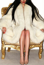 SPLENDID WHITE LUSH POLAR BLUE REAL SAGA FOX FUR COAT JACKET PURE DIVINE! XL
