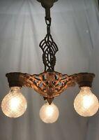 Antique Vtg Chandelier Arts & Crafts Deco Ceiling Hanging Light 1920s Gold Iron