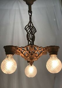 Antique Vtg Chandelier Arts & Crafts Deco Ceiling Hanging Light 1920s Gold Iron