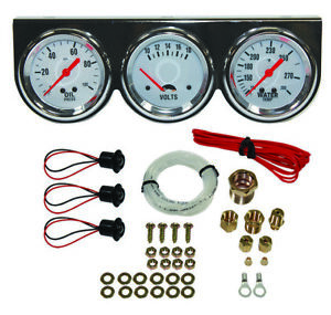 "Universal 2 5/8"" Chrome Oil Pressure, Water , Volt Triple 3 Gauge Set Gauges Kit"