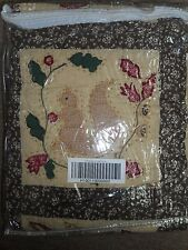A Fine Day Quilted Throw Blanket NEW Browns, Greens, Reds Flowers Squirrels NEW