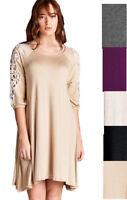 JODIFL Womens USA Crochet Lace Boho 3/4 Sleeves Bohemian Elegant Dress S M L
