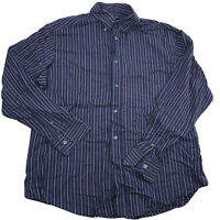 BUGATCHI UOMO Men's XL Button Front Dress Shirt CLASSIC FIT Dark Blue Striped