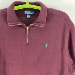 Polo Ralph Lauren Quarter Zip Sweater Men's Size 2XL XXL Red Maroon Leather zip