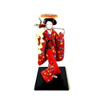 "Japanese Porcelain Geisha Doll Vintage 12"" Tall in Red Kimono with Flowers"