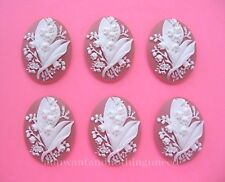 6 White LILY of the VALLEY flowers on Bubblegum Pink 40mm x 30mm craft CAMEOS