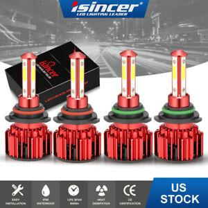 9005+9006 6000K 200W 58000LM Combo 4-Side LED Headlight Kit High Low Lamp Bulbs
