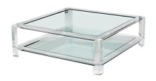 "52"" INTERLUDEHOME SURREY GRAND Square Acrylic Lucite Glass Center Cocktail Table"