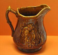 "Antique Early Large 9.5"" Bennington Rockingham Drip Glazed Pitcher Angel Scene"