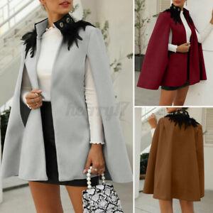 ZANZEA UK Womens Winter Jacket Coat Cape Poncho Feather Neck Outerwear Cardigan