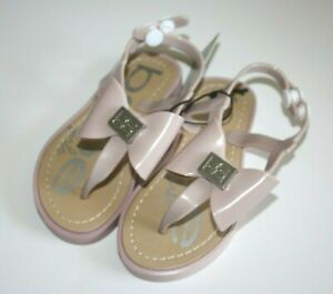BEBE Girls Toddler L Large 9/10 Beige Natural Bow Dress Sandals NWT Shoe New