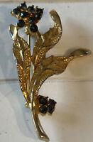 Vintage Costume Jewellery Blue Crystal Flower Spray Gold Tone Brooch