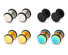 4x Pairs Surgical Stainless Steel Stud Earrings ~ Fake Plug / Tunnel ~ Stretcher