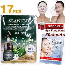 17pcs SEAWEED Facial Mask Sheet + 30 Sheets Purederm Collagen Eye Zone Mask