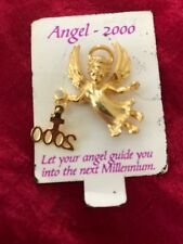 Holiday Christmas Brooch Pin Gold Tone Angel Millenium Dangling Cross & 2000