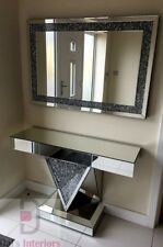 Stunning Diamond Crush Crystal glass Mirrored One Draw Console Table/Wall Mirror