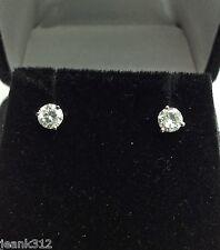 14K White Gold 0.51 Carats Round Cut Martini Diamond Stud Earring Anniversary
