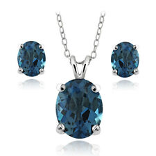 925 Silver 4.2ct London Blue Topaz Oval Solitaire Necklace & Earrings Set