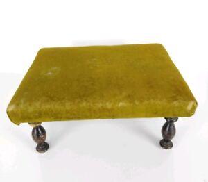 Antique 19th Century Victorian Olive Green Velvet Wooden Footstool