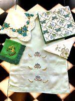 Vtg Green St. Patrick's Decor Handmade Handkerchiefs & Fingertip T Towels