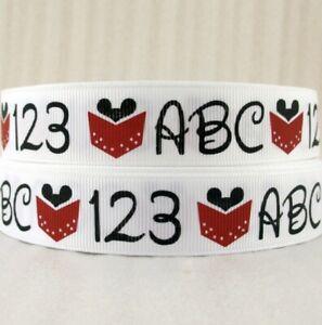 By The Yard 7/8 Inch Printed School ABC 123 Grosgrain Ribbon Lisa