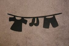 Metal Wall Art Decor Clothes Line  Laundry Room Decor Black