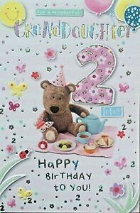 FOR A WONDERFUL GRANDDAUGHTER 2 TODAY - CUTE BIRTHDAY CARD